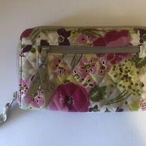 Vera Bradley Zip Around Clutch Wallet Make Me Blush Pink/green/beige 8x4.5 Photo