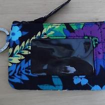 Vera Bradley  Zip Id Case W/key Ring in Midnight Blues Excellent Condition Photo