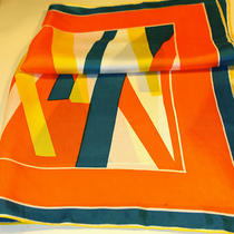 Vera Scarf Orange Yellow Aqua - Silk - 24