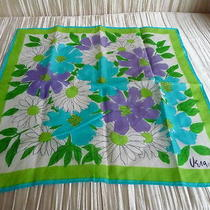 Vera Vintage Scarf Cotton Lime Aqua Purple White  15 1/4 X 15 3/4 Photo