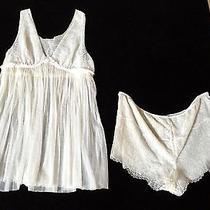 Vera Wang 2-Piece Ladies Ivory Lace Intimate Sleep Garment Teddy Size 8 Photo
