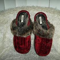 Vera Wang Bedroom Shoes Dark Red Trimmed in Black Fur Size L Photo