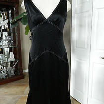 Vera Wang Black Satin Fit & Flare Dress 10 Photo