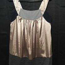 Vera Wang Blouse Chic Tank Top Satin Shirt Block Colors Summer Business Size 2  Photo