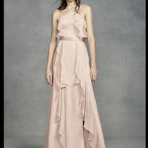 Vera Wang Blush Chiffon High-Neck Bridesmaid Dress Evening Dress Tie Back 18 Nwt Photo