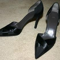 Vera Wang by Stuart Weitzman Black Grosgrain & Satin Heel Pump Shoe Sz 8 Narrow Photo