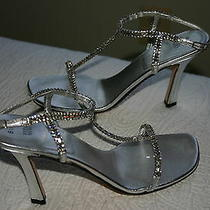 Vera Wang by Stuart Weitzman Silver & Rhinestone Sandal Shoes Sz 8.5 Aa 360 Euc Photo