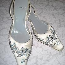 Vera Wang Cocktail Formal Wedding Ivory Slingback Beaded Shoes 7m Photo
