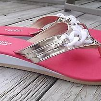 Vera Wang Coral White Gold Chain Detail Sandals Flip Flops Cruisewear Sz L 9/10 Photo