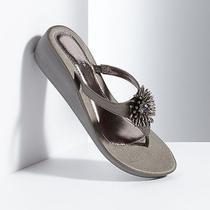 Vera Wang Designer Bead Cluster Wedge Flip Flops Sandals Large 9-10 Grey Gray Photo