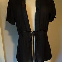Vera Wang Elegant Black Tie in Front Short Sleeve Sheer Lingerie Top-S Photo
