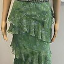 Vera Wang Green/blue Silk Floral Tiered Ruffle Gown W/ Beaded/sequin Belt Sz 38 Photo