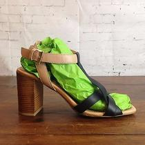 Vera Wang High Heeled Black and Tan Leather Sandals Womens Us 8.5 Photo