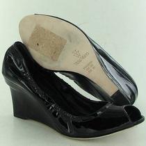 Vera Wang Jesse Peep Toe Black Wedge Womens Size 8 M New 250 Photo