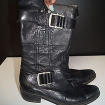 Vera Wang Lavender Black Leather Silver Hardware Motorcycle Boot 39 1/2 B1429 Photo