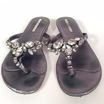 Vera Wang Lavender Grey Silver Jeweled Flip Flops Beach Sandals Flats Size 6 Photo