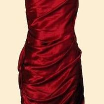 Vera Wang Lavender Label Red Silk Satin Ruched Dress 10 Photo