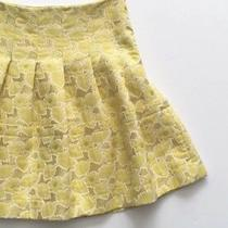 Vera Wang Lavender Label Women Yellow Gold White Floral Brocade Pleated Skirt 6 Photo