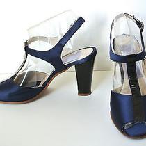 Vera Wang Lavender Shoes 40 10 T Strap High Heel Open Toe Blue Satin & Patent Photo