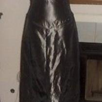 Vera Wang Metallic Gray Taffeta Acetate Evening Gown Dress  4  Photo