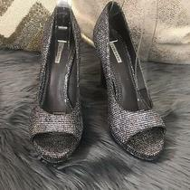 Vera Wang Pewter Silver Glitter Peep Toe Platform Sparkly Pump Size 5.5 Italy  Photo