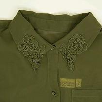 Vera Wang Princess Army Green Floral Peterpan Collar Sheen Button Blouse Large Photo