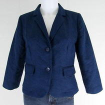 Vera Wang Princess Blue Embossed Star Fitted Blazer Jacket Size Juniors Large   Photo