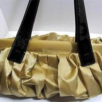 Vera Wang Purse Gold Fabric Black Patent Leather Handles Shoulder Bag Satchel Photo