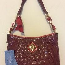 Vera Wang Purse Handbag Hobo Bag Tote Dark Red Lace Chain Elegant Retail 99 Nwt Photo