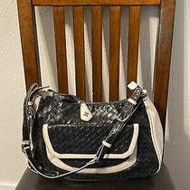 Vera Wang Purse/tote/shoulder Adorable Black/white Leather Medium/large Cleaned Photo