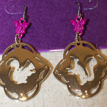 Vera Wang Simply Princess Squirrel Drop Dangle Gold Tone Pink Women's Earrings  Photo