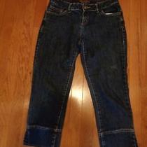 Vera Wang Simply Vera Dark Blue Denim Straight Leg Capri Cropped Jeans-Size 4 Photo