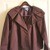 Vera Wang Simply Vera Plum Ruffled Jacket Blazer Size S 100% Cotton Purple Photo