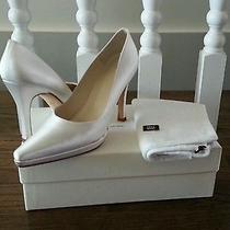 Vera Wang Stuart Weitzman White Satin Wedding Bridal Shoes 4