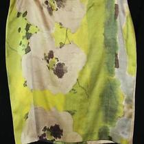 Vera Wang Watercolor Green Abstract Floral Wearable Art Silk Pencil Skirt Sz 8 Photo