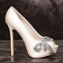 Vera Wang Wedding Shoes Peep Pump Crystal Bow Photo