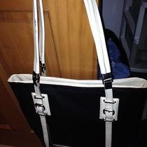 Vera Wangwhite Patent Leather & Black Vinyl Purse Buckles Great Shopper Tote Photo