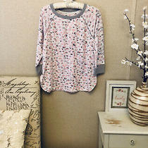 Vera Wang White Pink Grey Soft Bubble Design Long Sleeves Light Sweater Top M Photo