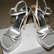 Vera Wang White Satin Wedding Bridal Sandals Shoes Sz Euro 38 or Us 8 485 Nwt Photo