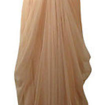 Vera Wang Women's Metallic Lace Draped Tulle Gown 10 Blush Photo