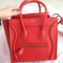 Vermillion Celine Micro Luggage Tote Drummed Calfskin Leather - Mint Condition Photo