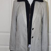 Veronica Beard Gray/ash Herringbone Blazer W/navy Dickey Size 8 Womens Nwt Photo