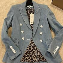 Veronica Beard Miller Denim Size 4 Dickey Jacket Light Blue Jean Blazer Nwt495 Photo