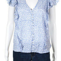 Veronica Beard Womens Floral Print v Neck Ruffled Blouse Blue White Cotton Size Photo