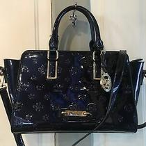 Versace 1969 Italia Patent Leather Blue Monogram Purse Crossbody Bag Photo