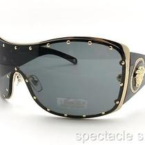 Versace 2129 B 1002/87 Gold Black Sunglasses Authentic Made in Italy Photo