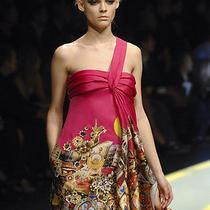 Versace 3d Flower Silk Dress Size 40i Photo