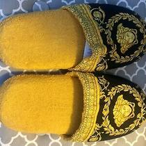 Versace Baroque Medusa Bath Slippers Size M - Black & Gold 100% Authentic Photo