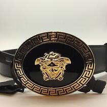 Versace Belt Leather Made in Italy Man Black Dcu4806dvtp1 D41oh sz.95/38 Photo