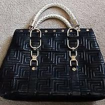 Versace Black Leather Tote With Gold Name Plate Photo